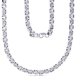 Best Epic Trends 41dF6eheGaL._SS300_ 14K Yellow or White Gold Solid 3mm-5mm Fancy Filk Chain with Lobster Claw Clasp | Italian Gold Necklaces | Gold Filk…