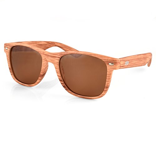 13Fifty Louisville Wayfarer Polarized Sunglasses, Faux Wood Frame, Brown Polarized - Sunglasses Louisville