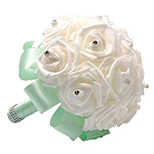 Artificial Flower Pearl Crystal Silk Roses Bridesmaid Bridal Holding Wedding Bouquet, Mint 115