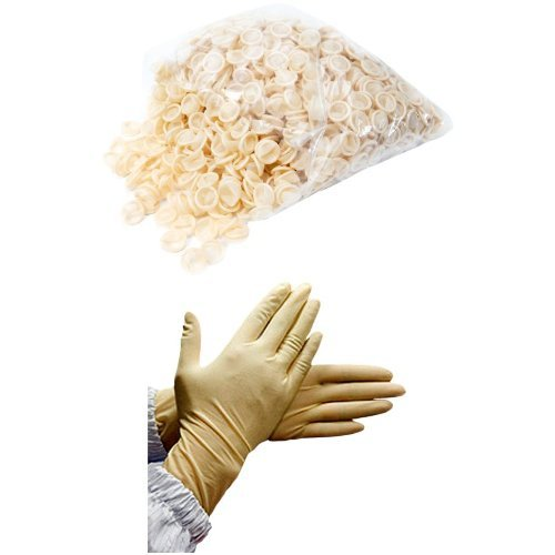 Bertech General Purpose Powder Free Latex Finger Cots, Medium (Pack of 1,440) with Cleanroom Compatible Powder Free Textured Natural Latex Gloves, Medium (Pack of 100)