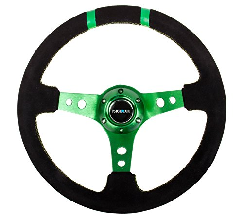 NRG Innovations RST-016S-GN Reinforced Wheel-350mm Suede Sport Steering Wheel Spoke w//Green Double Center Marking 3 Deep
