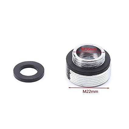 2 juegos de conectores de aireador de grifo de metal con rosca exterior para ahorro de agua para grifo de cocina 16//18//20//22//24//28//mm a 22 mm o G1//2 a 22 mm negro
