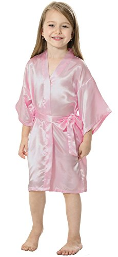 JOYTTON Kids' Satin Rayon Kimono Robe Bathrobe Nightgown (4,Baby Pink) ()