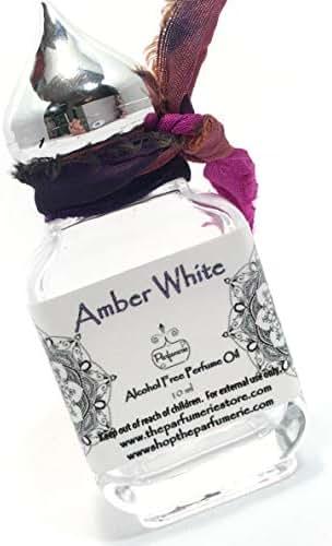 1/3 oz. Bottle of Amber White Grade A Perfume Oil Alcohol Free (Arabesque Style Bottle) (Gift 10ML Bottle)