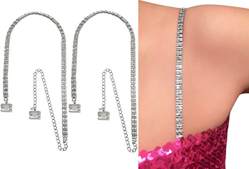 Strap N' Guard Women's 2-Row Crystal with Space Bar Pin Straps for Clothing (Bar Pin Rhinestone)