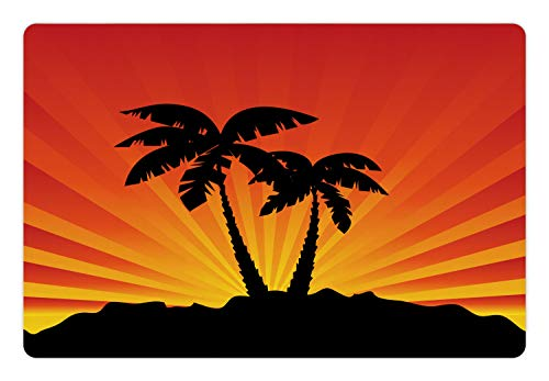 Ambesonne Silhouette Pet Mat for Food and Water, Tropical Art Sunrays Palm Trees on Island, Rectangle Non-Slip Rubber Mat for Dogs and Cats, Charcoal Grey Burnt Orange Marigold Earth Yellow