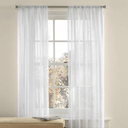 Best Token 2-piece Solid Voile Sheer Curtains Rod Pocket Panels 51″x 84″ (White)