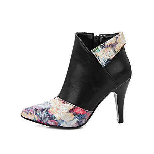 Soft Black Material Allhqfashion Heels Women's high Pointed Toe Boots Closed Ankle High qYPxq1