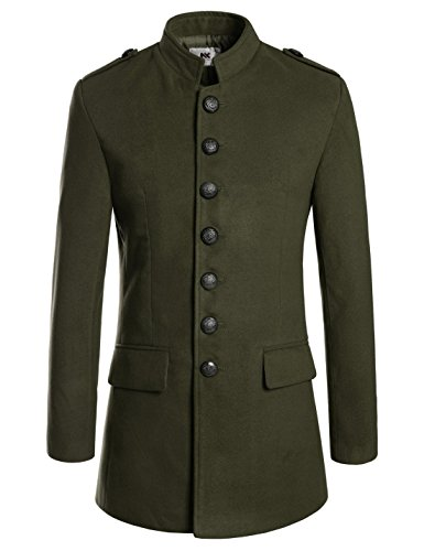 NEARKIN (NKNKSC7033) Mens Chinese Collar Single Breasted Wool Blended Jacket Coat KHAKI US XS(Tag size XS) for $<!--$60.50-->