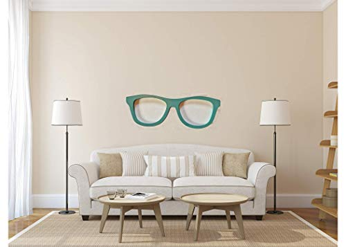 (Birch Collection Giant Glasses Wooden Wall Art | 26 x 9 Inches | Decorative Wall Decor Hangings | Black (Teal))