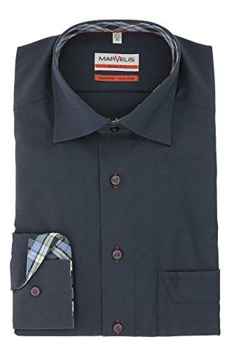 Marvelis Herren Hemd Slim Fit Langarmhemd 100% Baumwolle Gr. 40 Marine - bügelfrei