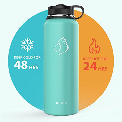 BUZIO Double Wall Stainless Steel Sports Water Bottle, BPA-Free Flex Cap Straw Lid, 40 Ounces, Mint by BUZIO (Image #2)