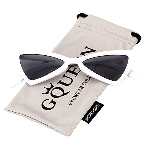 ojo GQZ8 protección Marco con Clout tipo a de UV GQUEEN moda tipo Gafas gato Lentes y Blanco Cobain Vintage Kurt Grises lentes de Lentes la sol Estilo pgWg0qBa