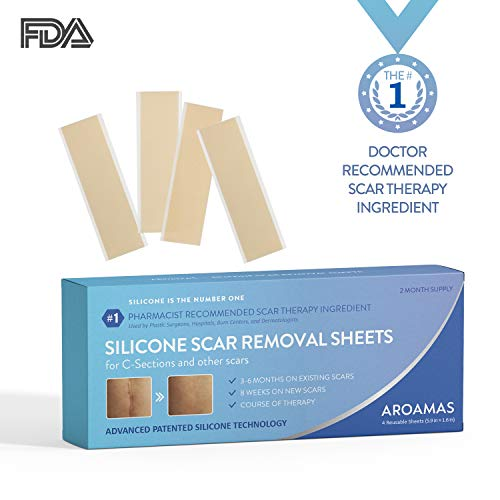 Aroamas Professional Silicone CSection Scar Removal Sheets 4 pcs 2 Month Supply