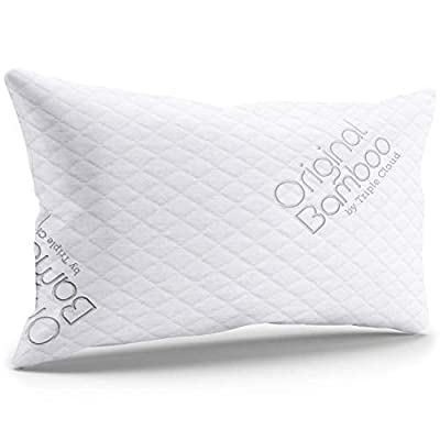 Triple Cloud Premium Luxury Pillows for Sleeping - Shredded Memory Foam Adjustable Firm or Soft Loft Standard Queen or King Pillow Cooling Removable Hypoallergenic Cover