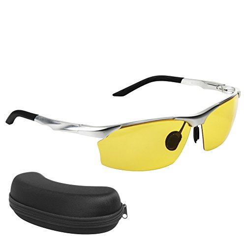 Night Vision Glasses | HD Night Vision Glasses for Safe Driving | Anti-glare UV400 Protected Polarized Lenses | Stylish Design for Men and Women with Black Case Included | Silver | 361.4