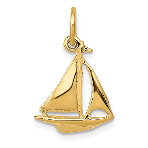 Solid 14k Yellow Gold 3-D Sloop Sailboat Charm with Polished Finish 19x12mm