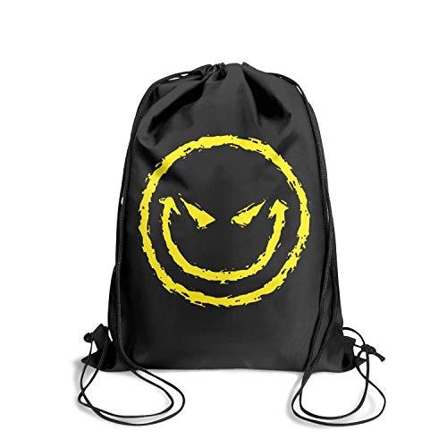 (Drawstring Backpacks Evil Smiley yellow Face Pull String Sport Team Work Rucksack Lightweight)
