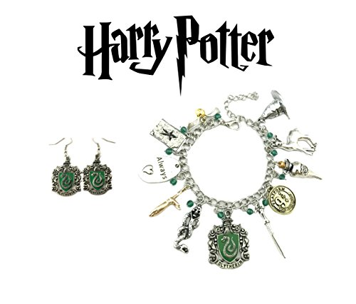 Harry Potter Bracelet and Earrings Slytherin House Crests 2 Pack Gift Set Logo Character Theme Cosplay Premium Quality Detailed Jewelry Gift Series by Superheroes Brand