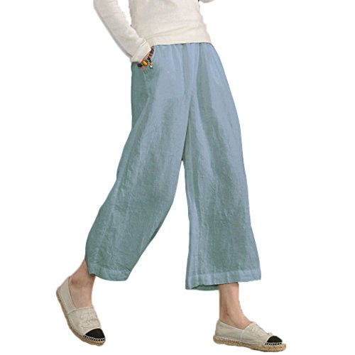 Ecupper Women's Elastic Waist Causal Loose Trousers Plus 100 Linen Cropped Wide Leg Pants, Light Blue, US 14=Tag 2XL