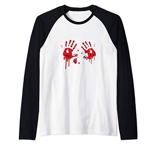 Bloody Hand-Prints Valentine Halloween Butcher Costume Top Raglan Baseball Tee -