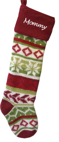 (Wool Christmas Stockings - Red Cuff - Hand Knitted Personalized Free)