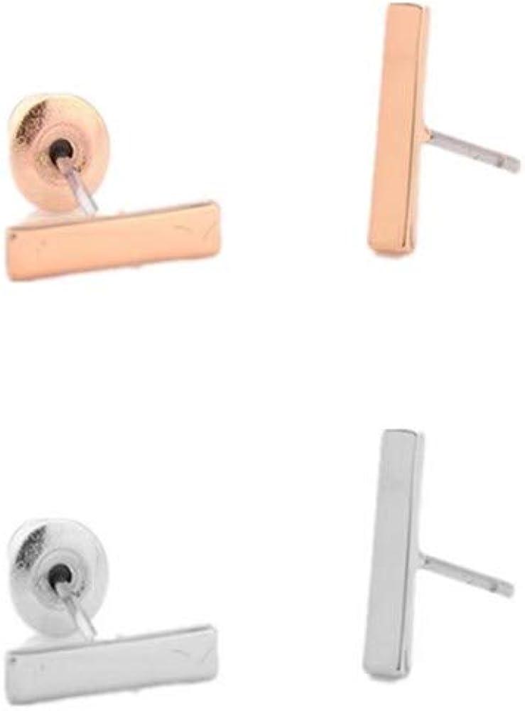 YRY Gold Minimalist Earrings Rectangle Bar Stud Metal Earrings for Men and Women Gift