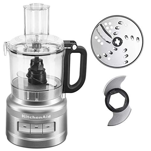 KitchenAid 7 Cup 3 Speed Food Processor and Veggies Chopper with Working Bowl and Lid, Contour Silver (Certified Refurbished)