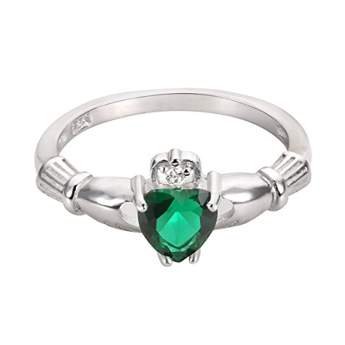 CloseoutWarehouse Simulated Emerald Cubic Zirconia Claddagh Benediction Ring Sterling Silver Size 4 by CloseoutWarehouse (Image #4)