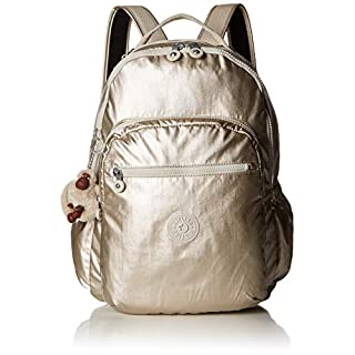 Kipling Seoul Go Laptop, Padded, Adjustable Backpack Straps, Zip Closure, Cloud Grey Metallic, One Size