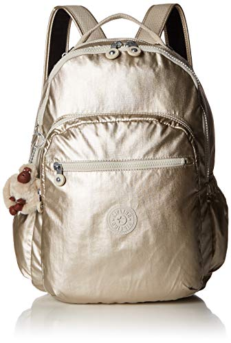 Kipling Seoul Go Laptop, Padded, Adjustable Backpack Straps, Zip Closure, Cloud Grey/Metallic