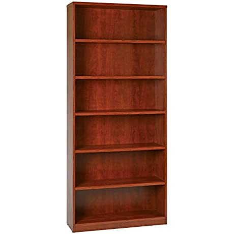 6 Shelf Bookcase With Thick Shelves Cherry
