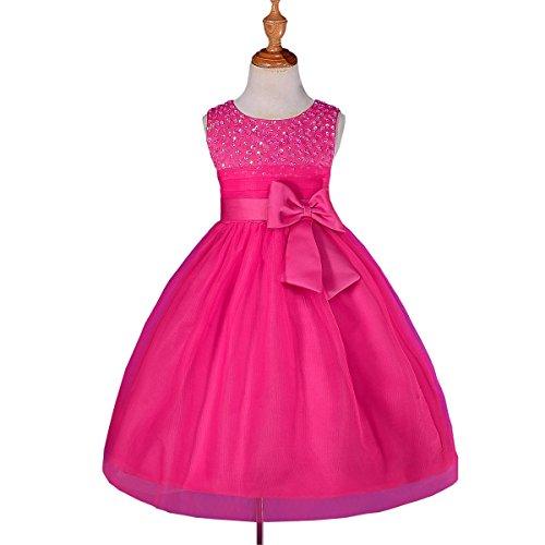 Dressy Daisy Girls' Girls' Beaded Satin Tulle Flower Girl Dresses for Wedding Pageant Party 5-6 Hot -
