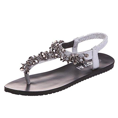 Jamicy Women Ladies Girls Bead Bohemia Leisure Peep-Toe Outdoor Sandals Shoes Silver