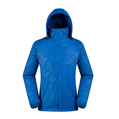 - vermers Men Women Lightweight Jackets Outerwear Casual Waterproof Windbreaker Jacket Running Hooded Coat(M, Dark Blue)