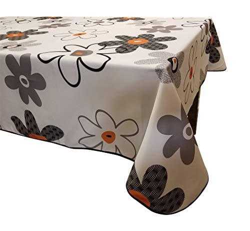 (Tablecloth Flower Orange, 100% Polyester,Anti stain, Anti wrinkle -water proof Flower Orange 58