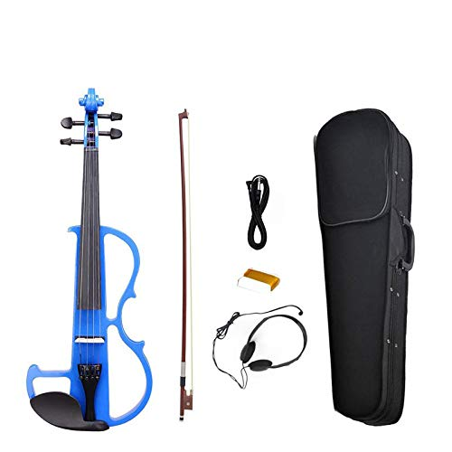 NAOMI Electric Violin 4/4 Electric Violin Silent Solid Wood Ebony Parts-High Level Preamp W/Case KIT blue NEW by NAOMI