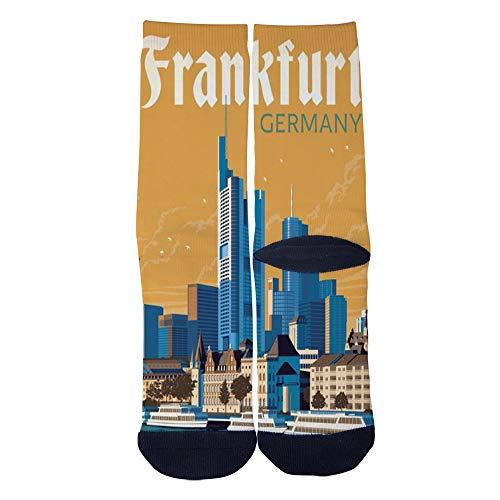 Vintage art poster Frankfurt Germany Socks Custom Crew Socks Men/Women Casual Cartoon Socks Creative Comfortable Socks Black -