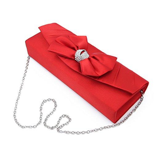 (Elegant Satin Flap Bow Crystal Clutch Evening Bag,)