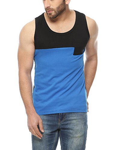 Gritstones Black Sleeveless Round Neck T-Shirt