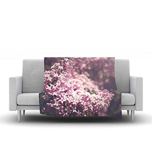 Kess InHouse Jillian Audrey Lilacs Pink Floral Fleece Throw Blanket 40 x 30