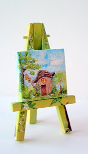 Cottage Cauldron (Mini Canvas 2 x 2 Original Painting with Easel by Artist Elleh®)