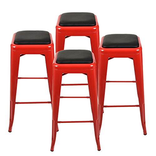 30' Chrome Bar Stool (Set of 4 metal steel 24'' barstool seat cushion chair vintage countertop outdoor for dining room,kitchen,living room, bar,pub)
