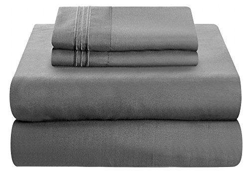 Mezzati Luxury Bed bed sheet Set - smooth and a lot more comfortable 1800 Prestige collection - covered Microfiber Bedding (Gray, Twin XL Size)