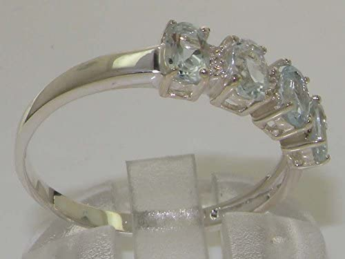 Solid Sterling 925 Silver Natural Aquamarine Real Diamond Ladies Eternity Band Ring