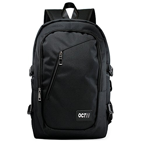 Oct17 Business Laptop Backpack, Slim Anti Theft Computer Bag, Water-resistent College School Backpack with Headphone Port, Eco-friendly Travel Shoulder Bag with USB Charging Port Fits UNDER 17 - Black by Oct17 (Image #1)