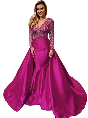 744279340f8 olise bridal 2019 Mermaid Long Prom Dresses Red Long Sleeves Beading Prom  Dress Formal Evening Gowns
