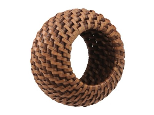 Brown Napkin Ring - KOUBOO 1010006 Rattan Napkin Ring with Tray, Set of 4, 3