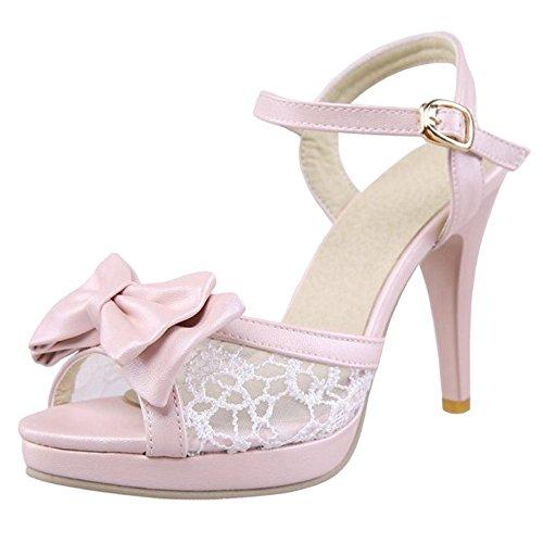Rose à TAOFFEN Toe Haut Femmes Chaussures Peep de Talon Sandales Cheville Sangle 8Bgw8qfTP