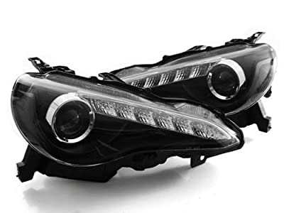 For 2013+ Scion Frs Jdm Style Led Drl Bi-halogen Projector Headlights - Black